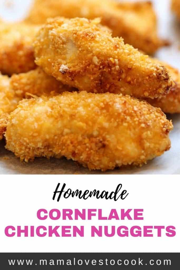 Homemade cornflake chicken nuggets Pinterest pin