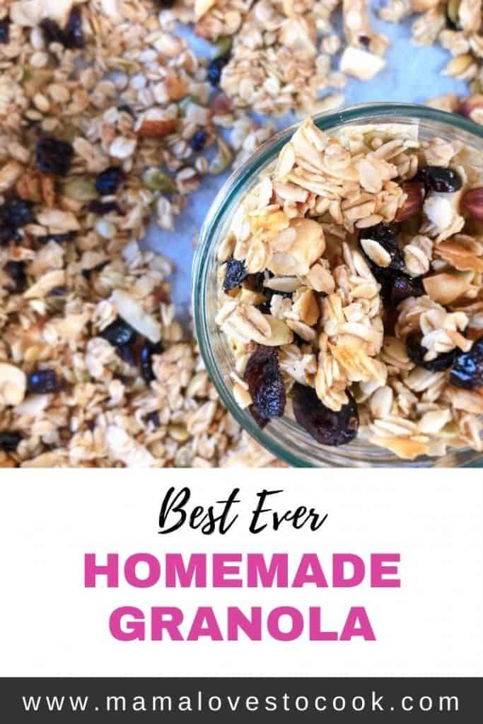 Homemade granola recipe Pinterest pin