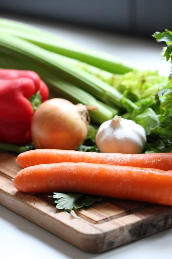 Vegetables in bone broth