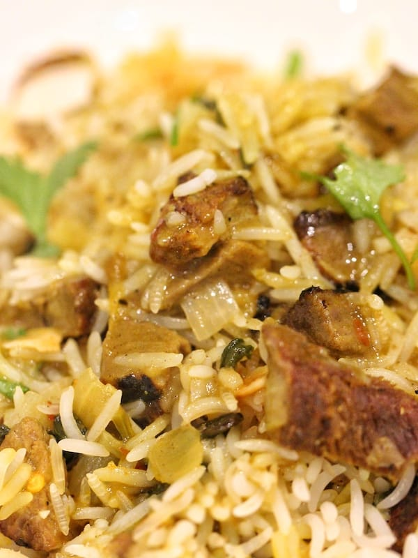 lamb and rice in biryani
