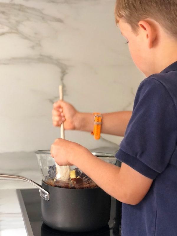 Melting chocolate in saucepan