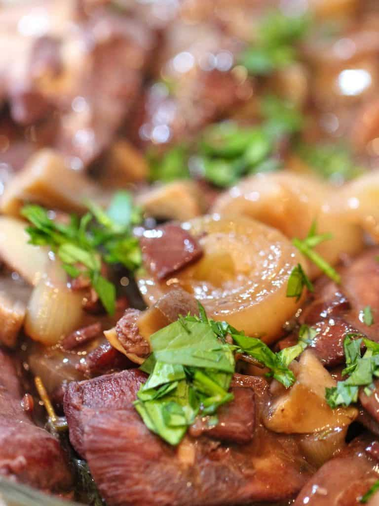 Coq au vin close up