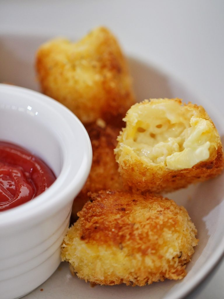 pan fried mac and cheese bites in bowl