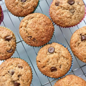 Banana Choc chip Muffins on rack