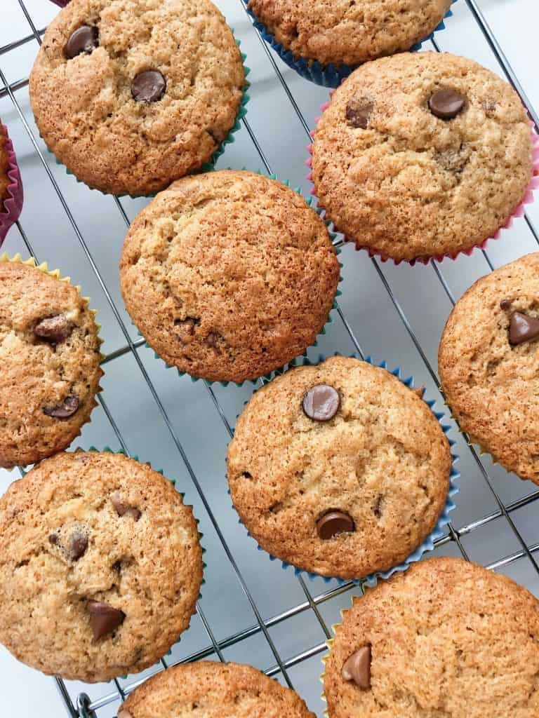 Banana Chocolate Chip Muffins cooling on rack
