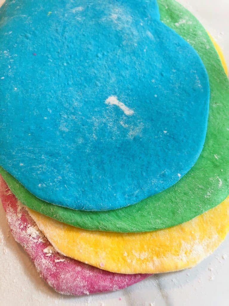 Rainbow bread dough rolled out