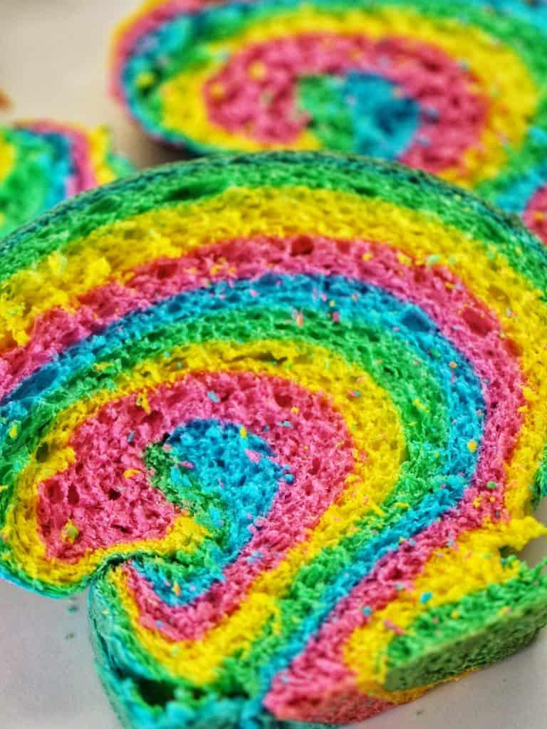 Rainbow bread slices