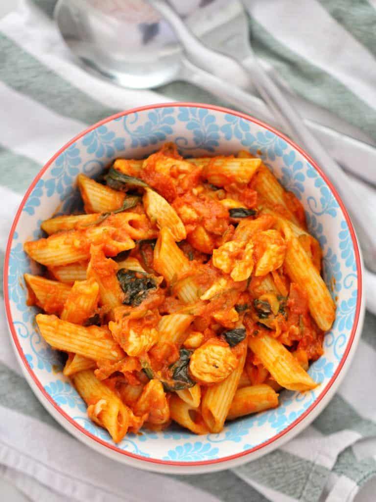 Chicken Tomato Pasta in bowl