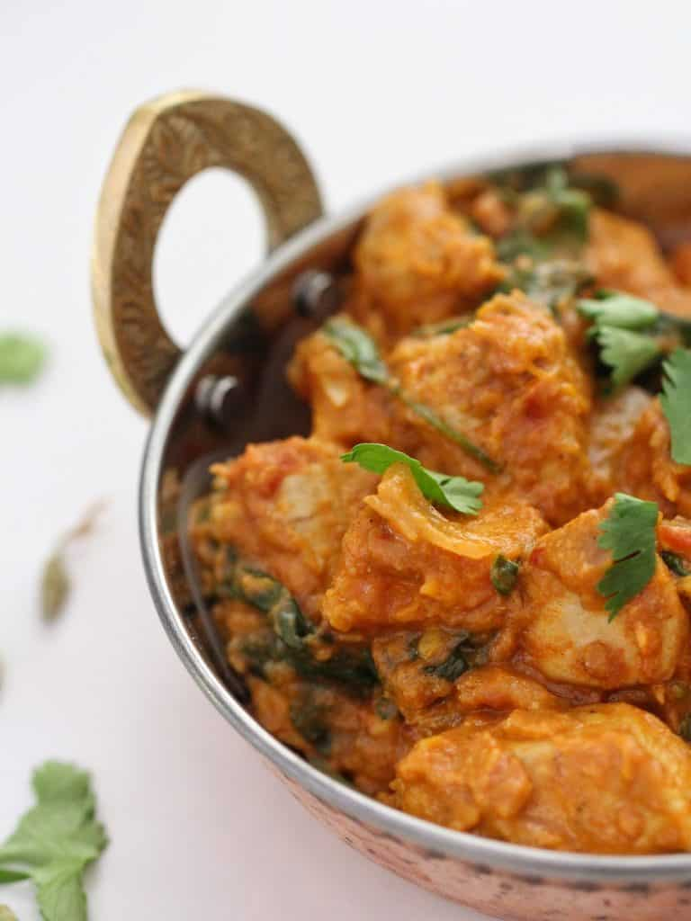Chicken and pumpkin curry in bowl