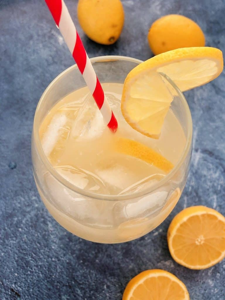 Thermomix Lemonade in glass with straw