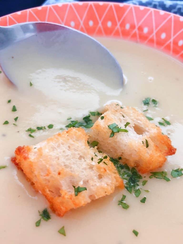 Croutons on Thermomix Leek Potato soup