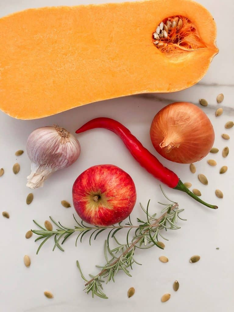 Thermomix pumpkin soup ingredients flatlay