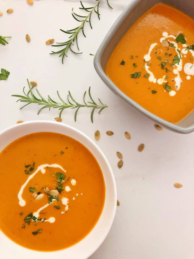 Two bowls of Thermomix Pumpkin Soup