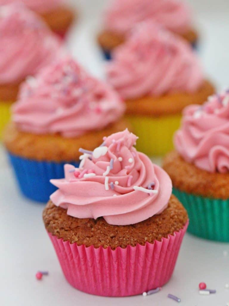 Thermomix vanilla cupcakes with pink frosting