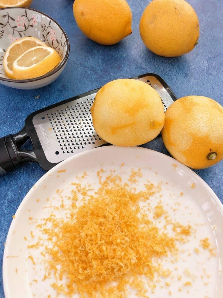 Zesting lemons for lemon curd