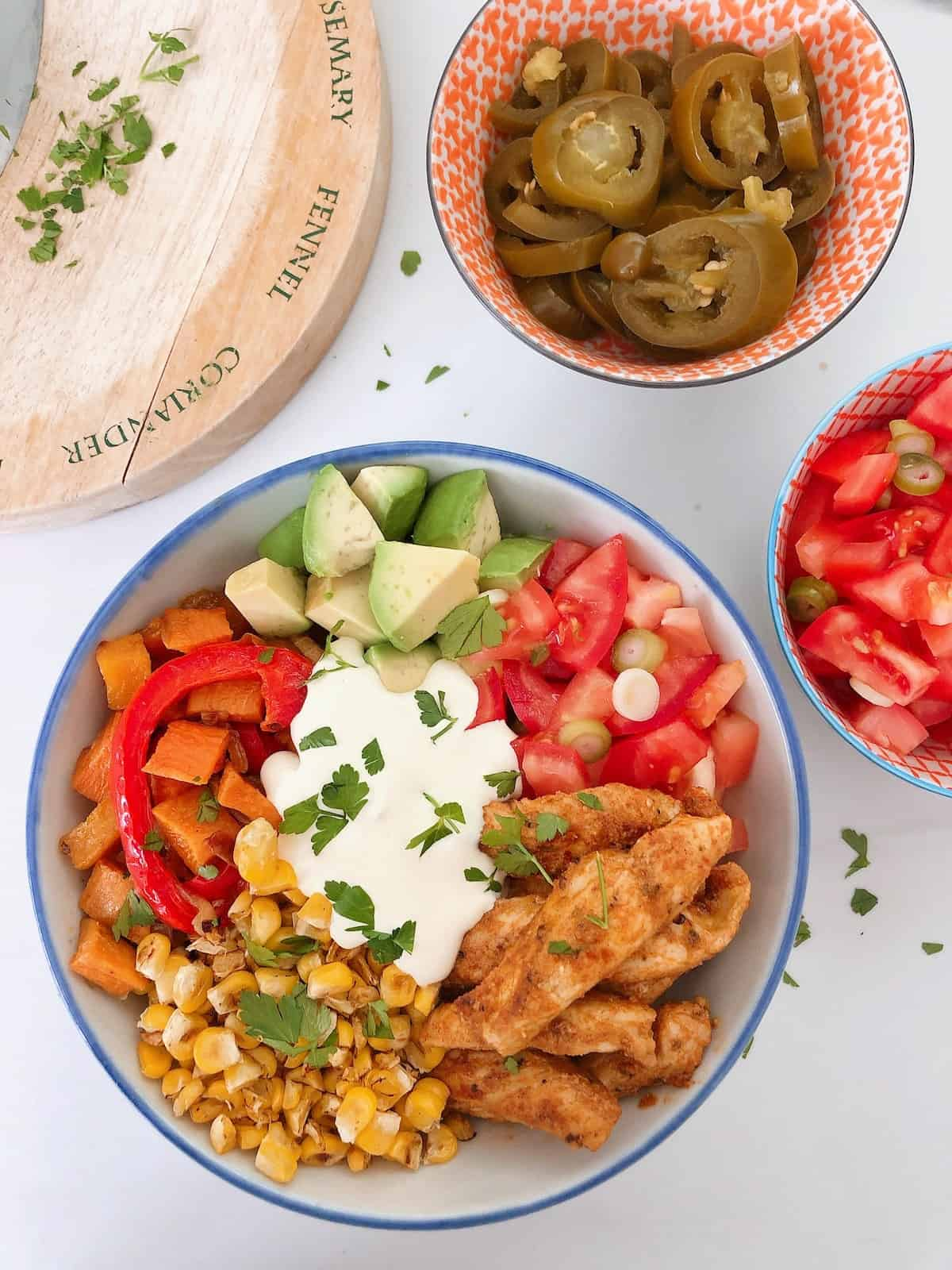 Chicken Fajita Bowls from above