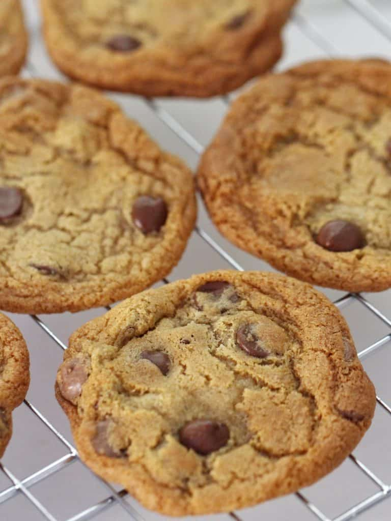 Thermomix chocolate chip cookies on cooling rack
