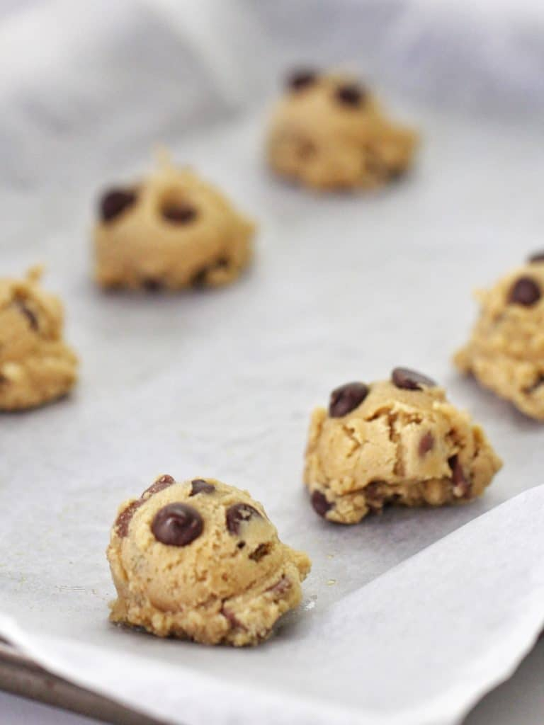 Thermomix Choc chip cookie dough on baking tray