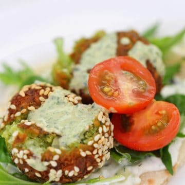 Thermomix Falafel on pita bread with salad