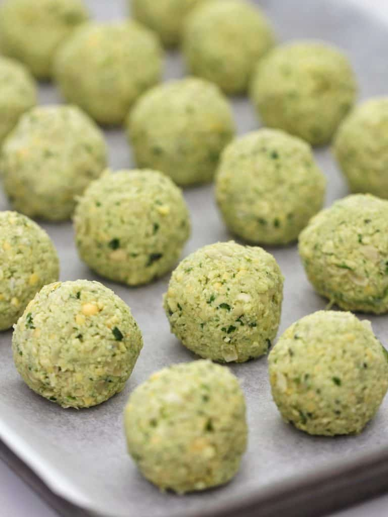 Thermomix falafel on tray