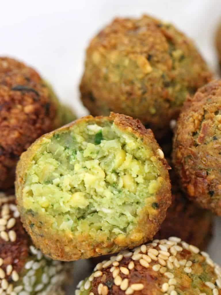 Thermomix falafel balls with bite taken out
