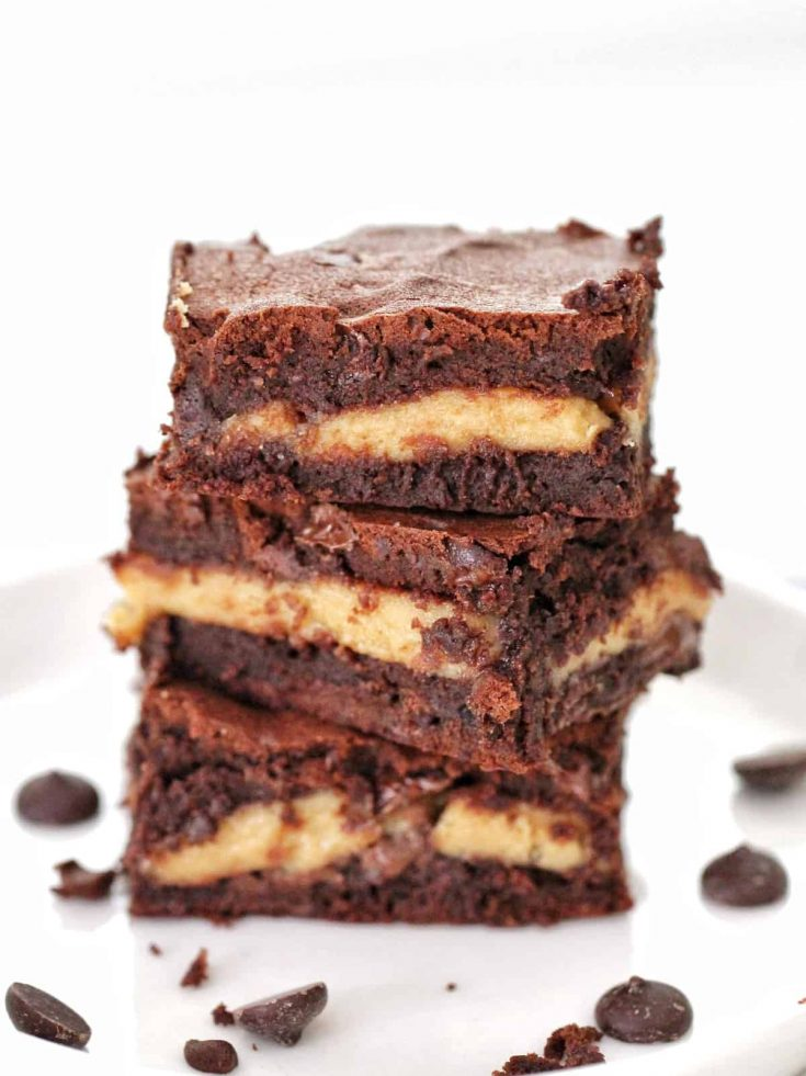 Stack of Thermomix peanut butter brownies
