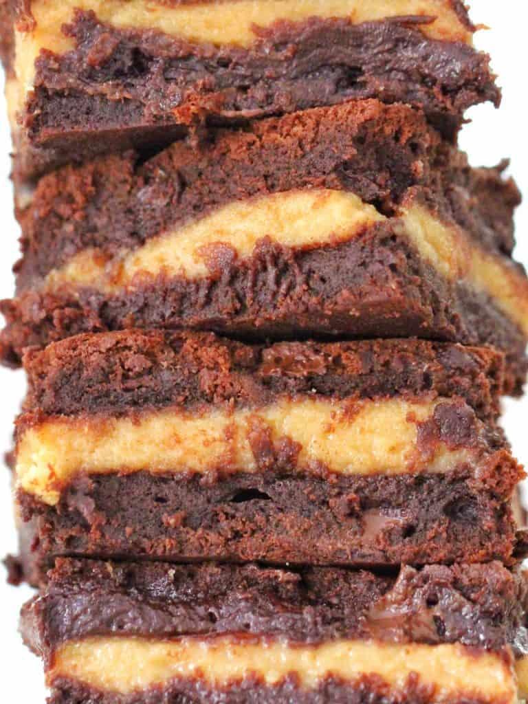 Peanut butter brownies close up