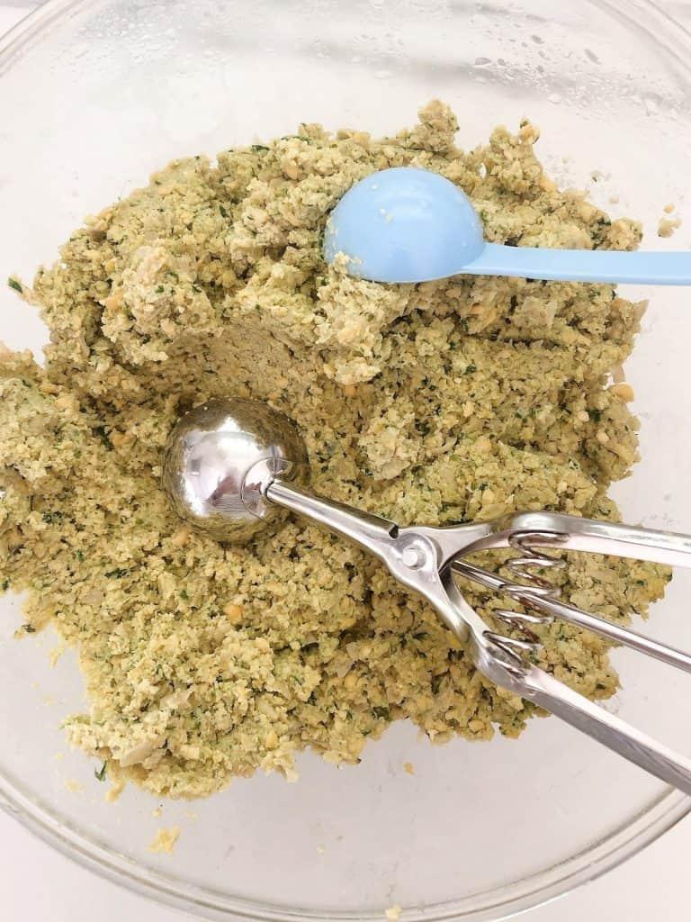 Homemade falafel mix in bowl