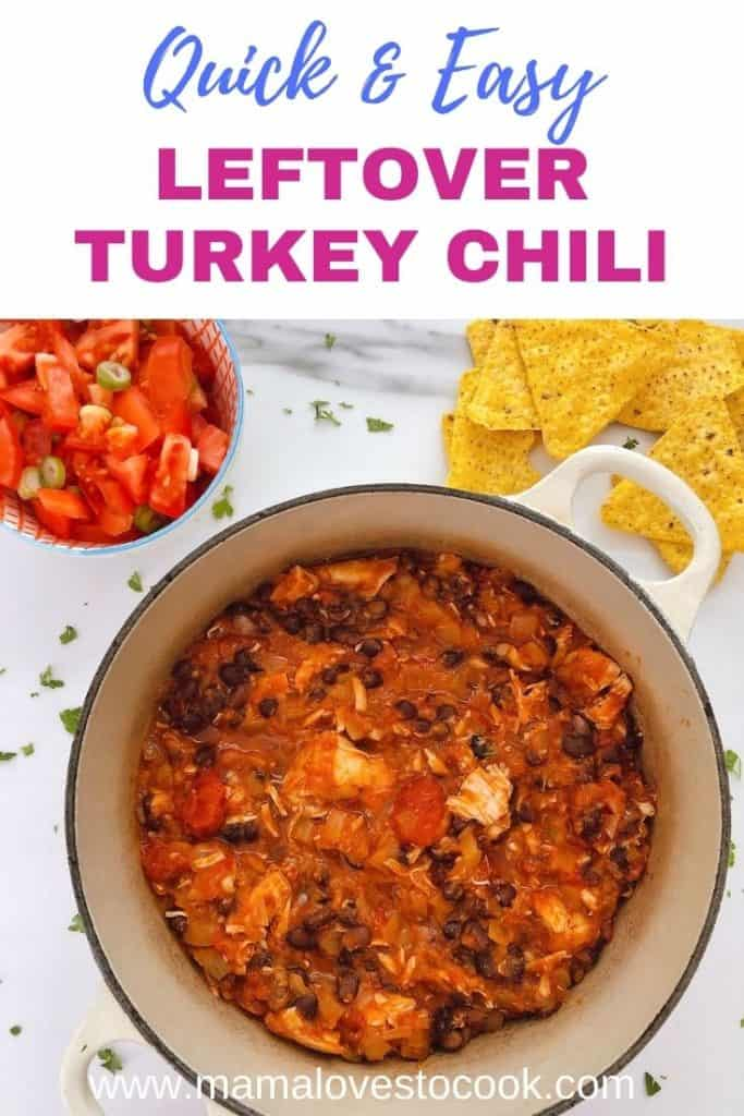 Leftover Turkey Chili pinterest pin