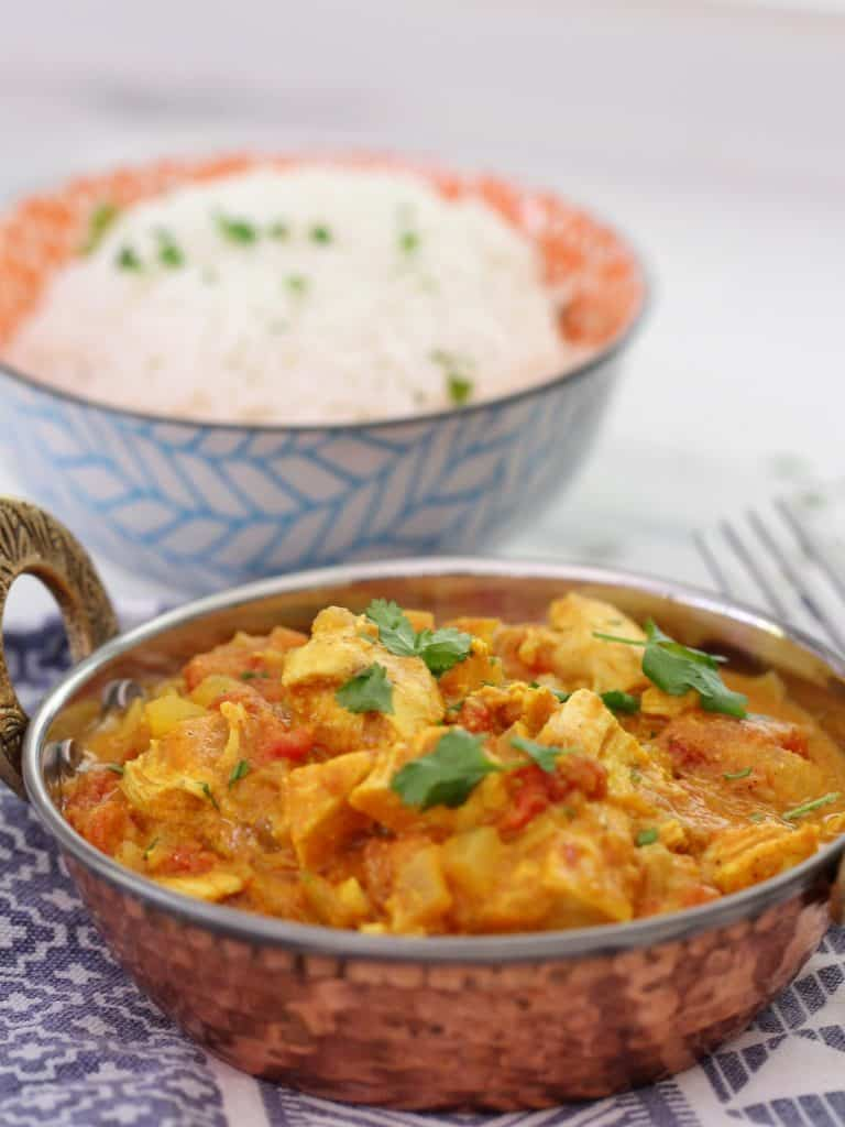 Leftover turkey curry with rice in a bowl