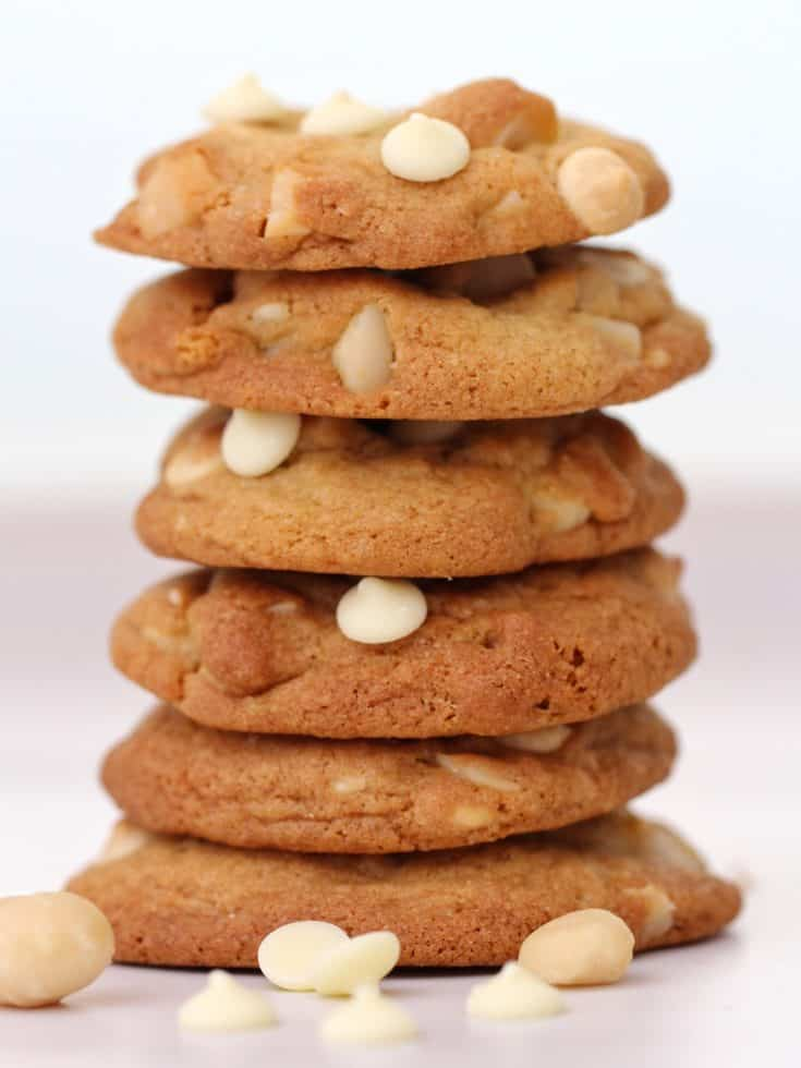 White chocolate chip macadamia cookie stack