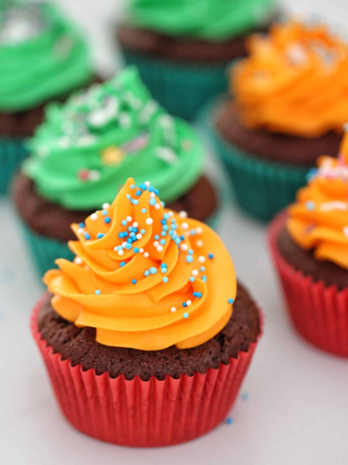 Thermomix Chocolate cupcakes with orange and green frosting