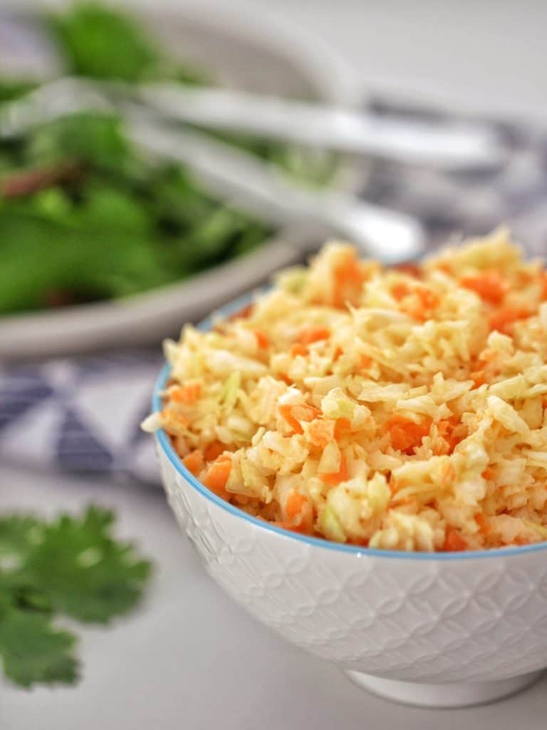 Thermomix Coleslaw in a white bowl on table