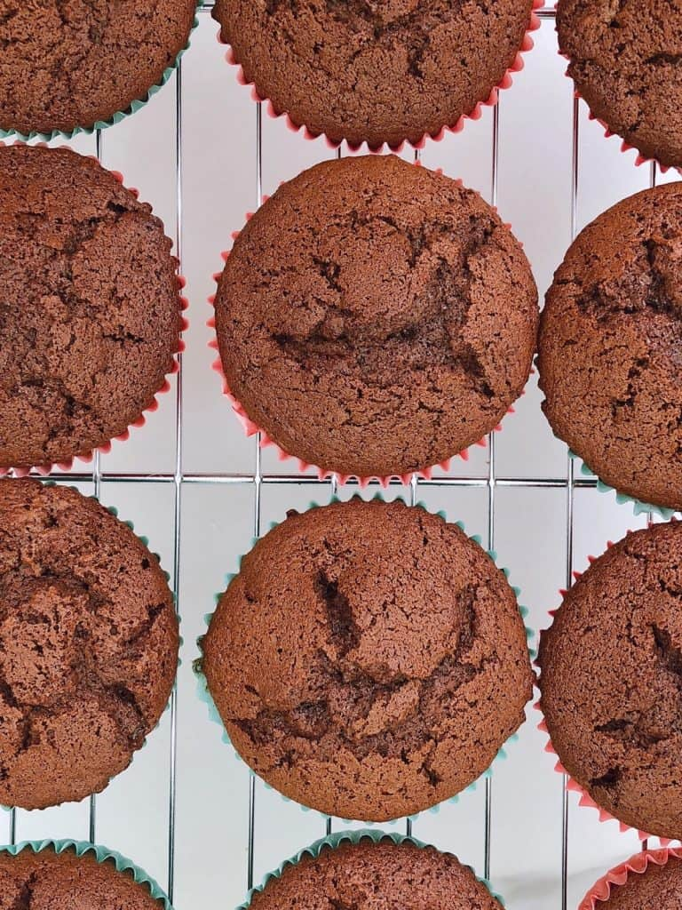 Thermomix chocolate cupcakes cooling on rack