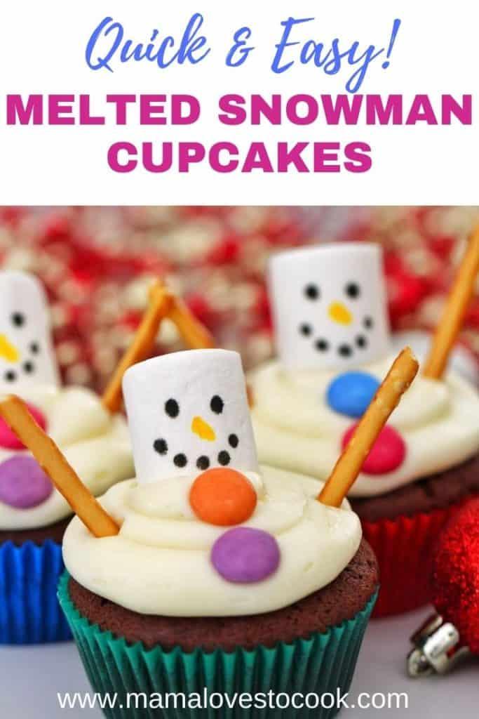 Snowman Cupcakes Pinterest pin