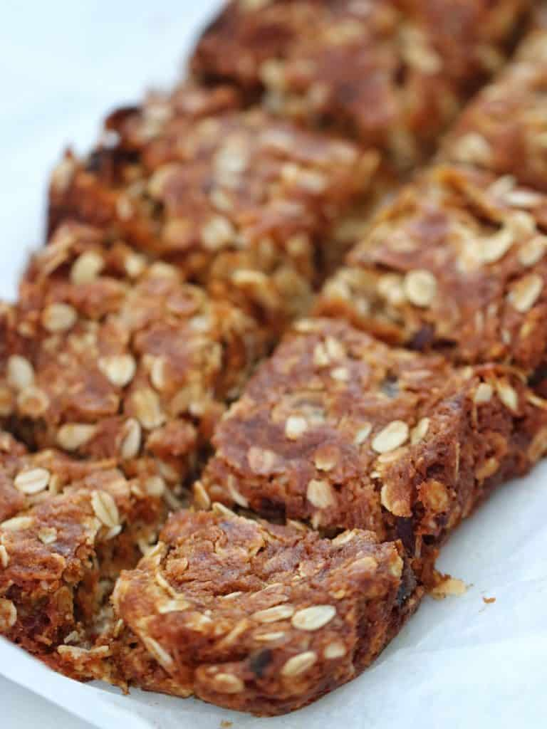 date and oat slice cut into pieces