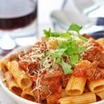 Slow cooked Lamb ragu pasta
