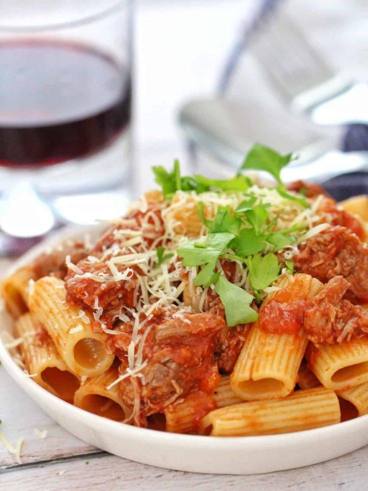 Slow cooked Lamb ragu pasta