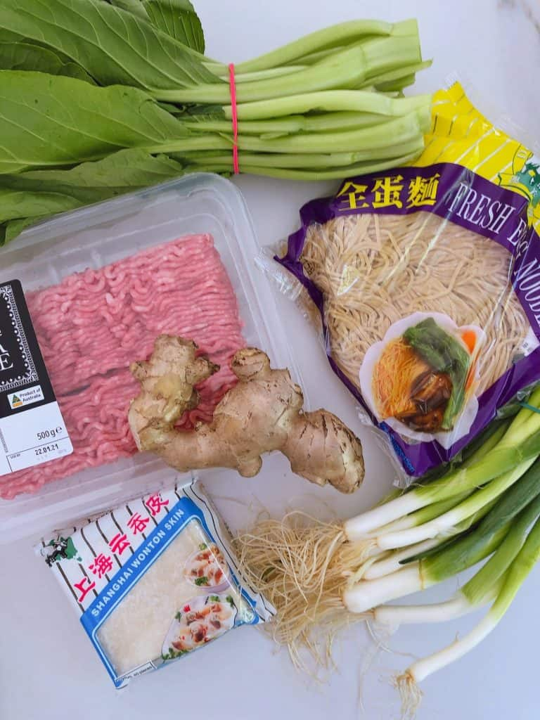 Ingredients for wonton noodle soup