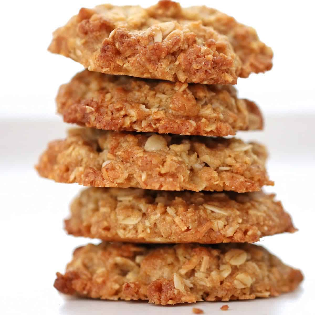 Stack of Thermomix Anzac Biscuits