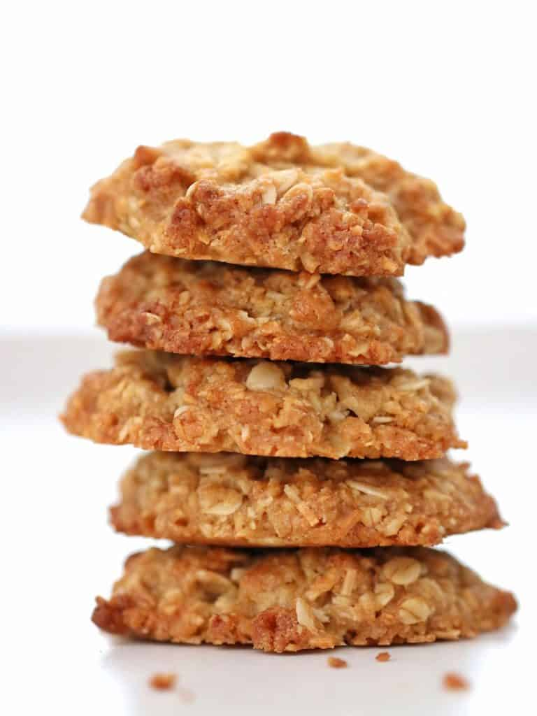 Thermomix Anzac Biscuits stack of five biscuits