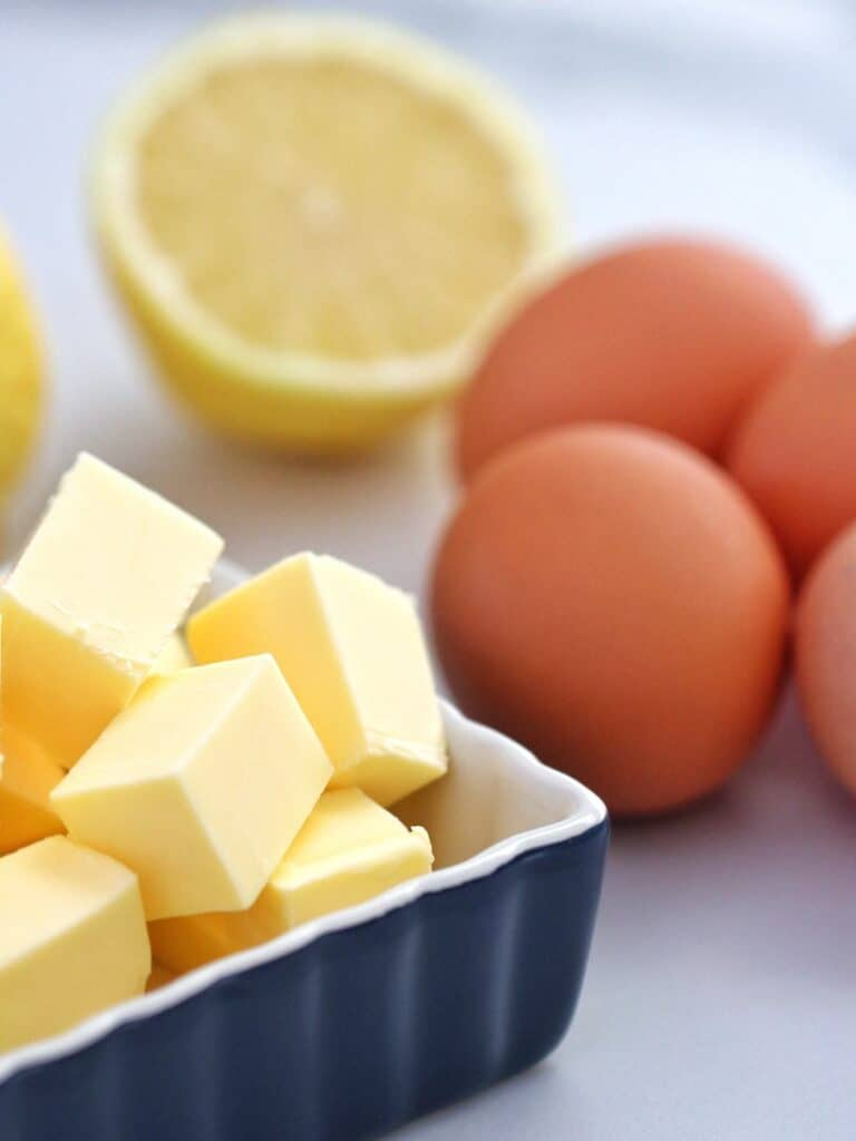 Ingredients for Hollandaise sauce - butter, lemon and eggs