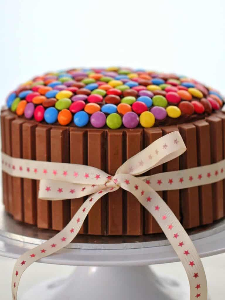 Thermomix Chocolate Cake decorated with kit kats and smarties
