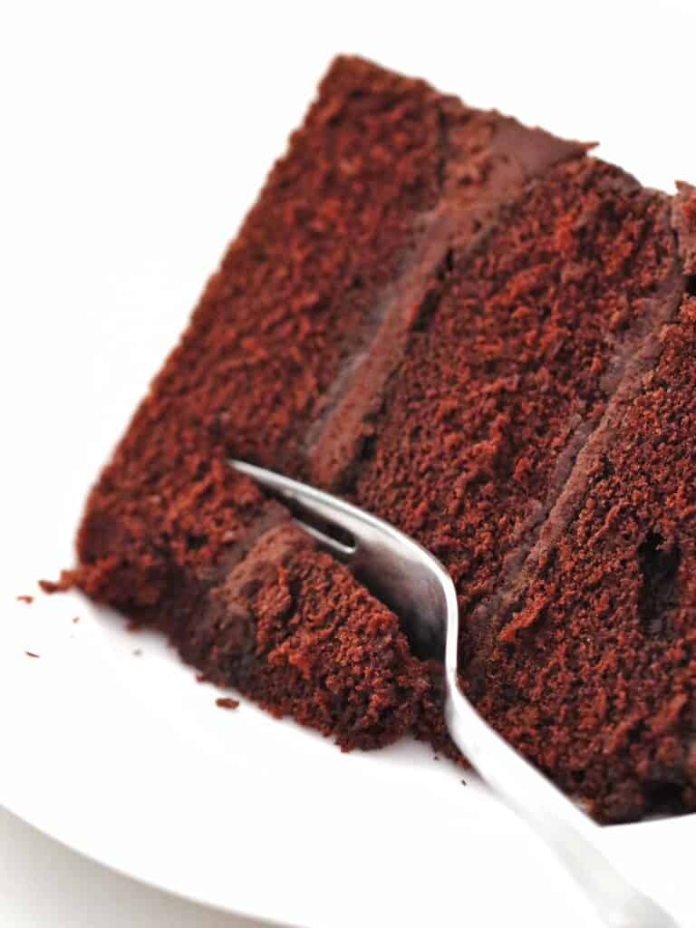 Slice of Thermomix Chocolate Cake with a fork