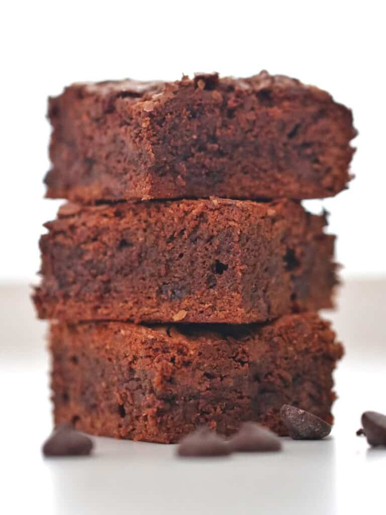 Stack of Thermomix Nutella Brownies