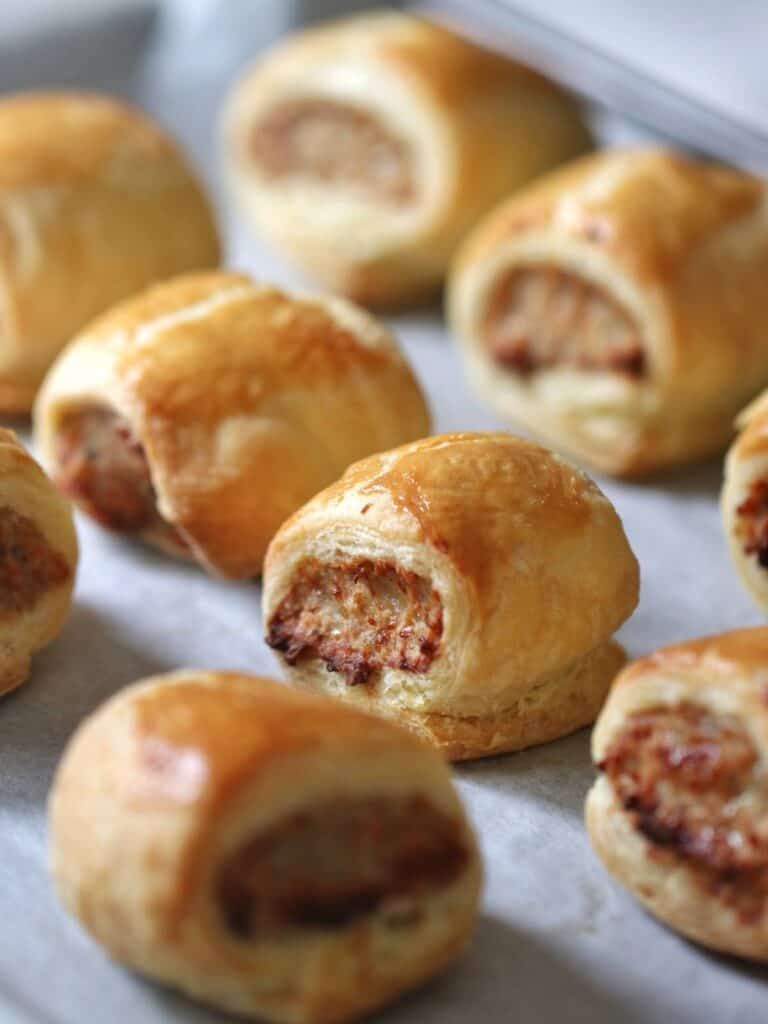 Thermomix Sausage rolls on baking tray fresh from oven