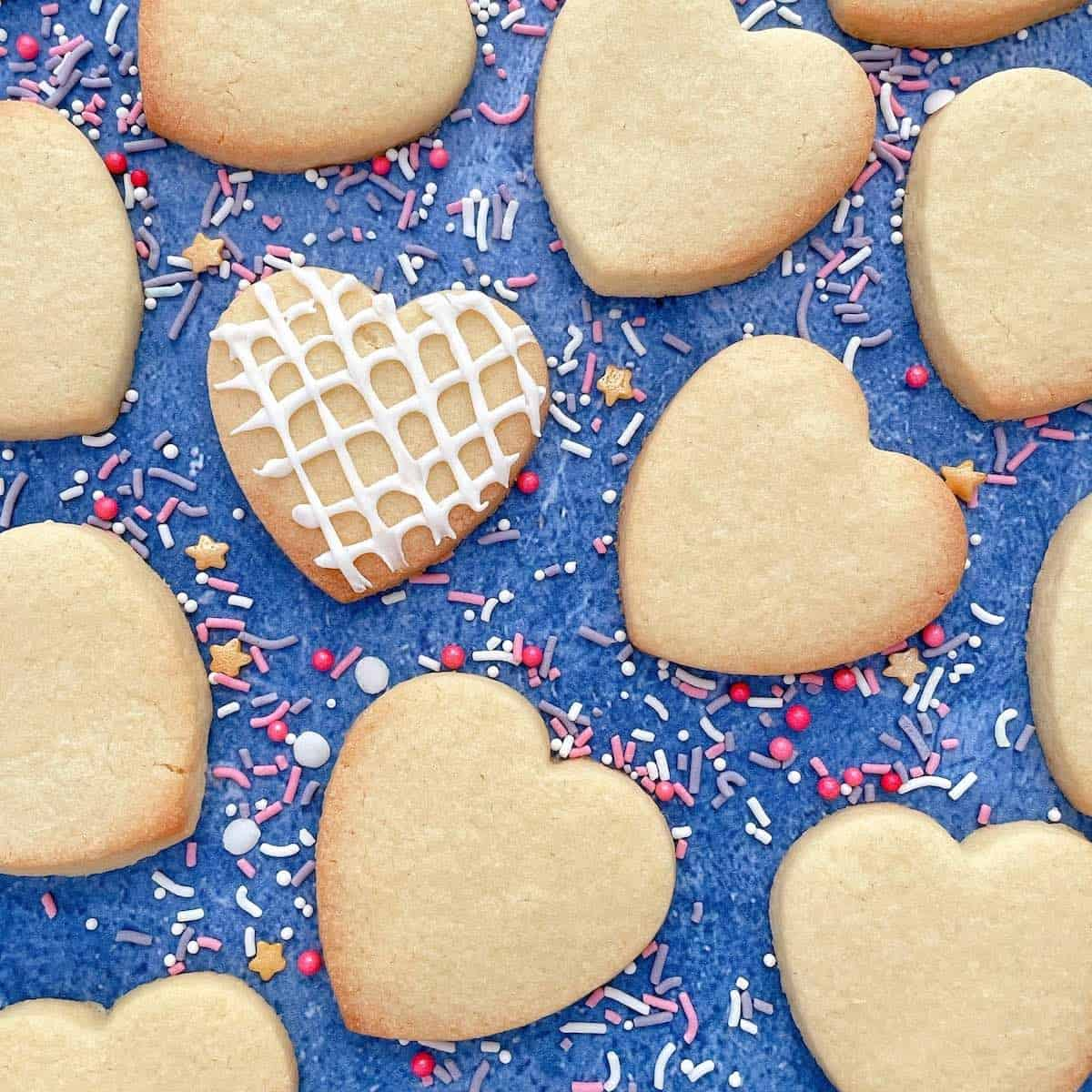 Thermomix Sugar Cookie Hearts with sprinkles