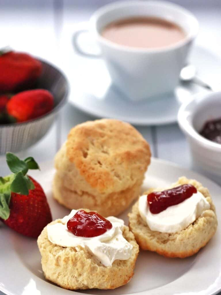 Thermomix scones served with cream and jam