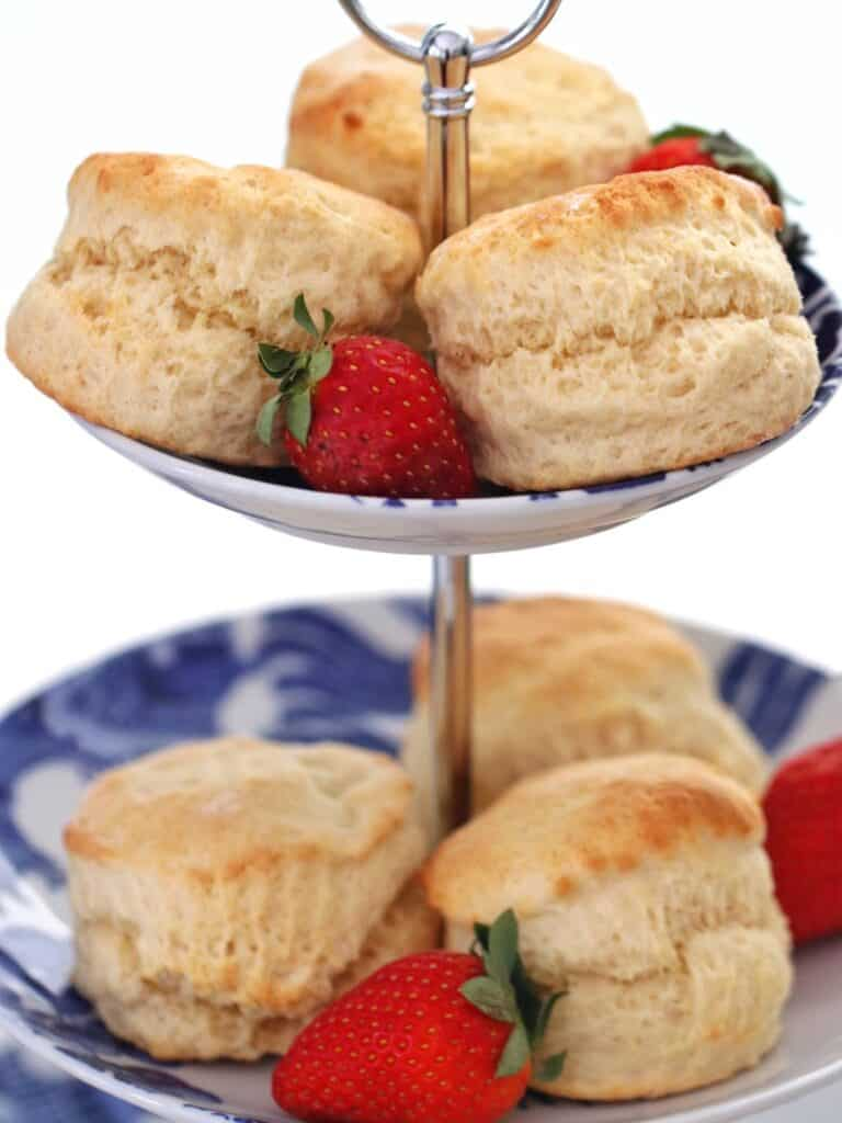 Thermomix Scones on a three-tier serving platter