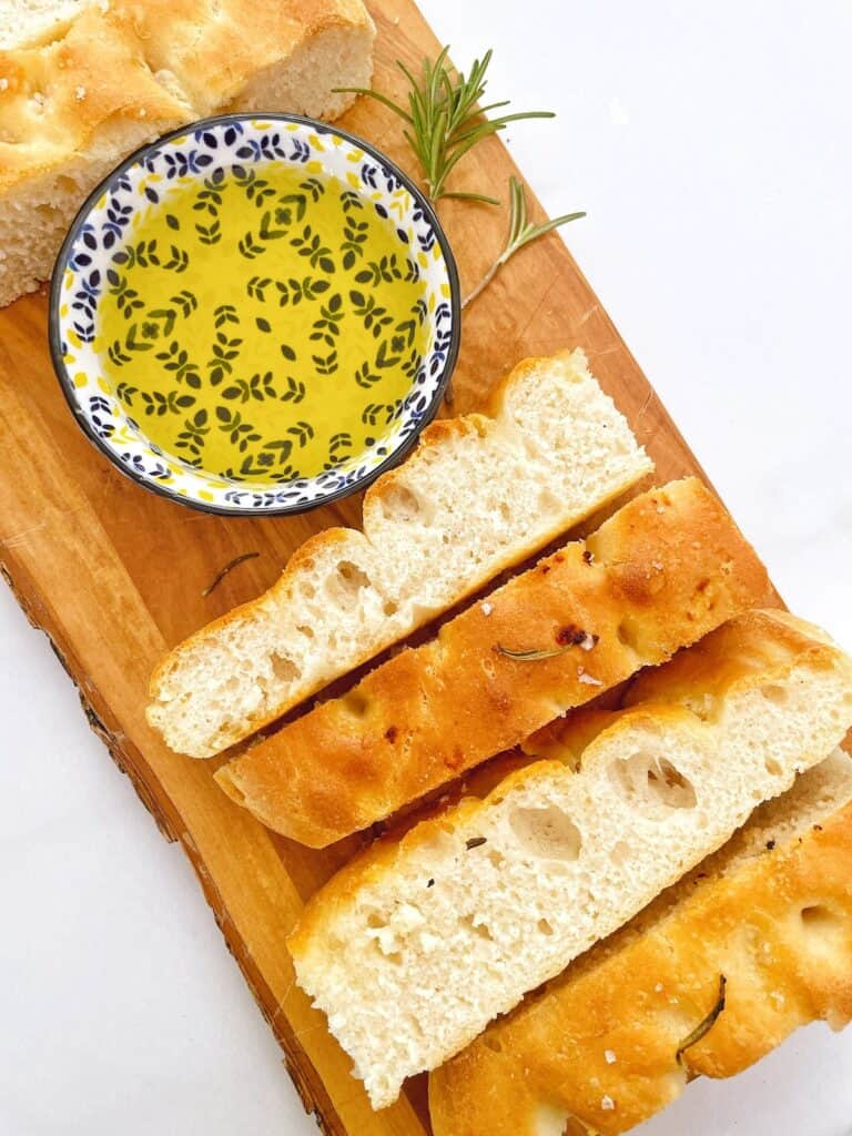 Sliced Thermomix focaccia with olive oil
